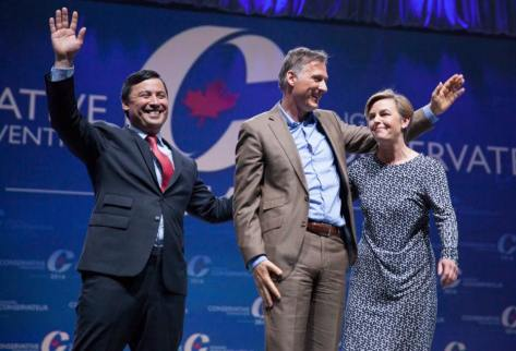 Michael Chong, Maxime Bernier and Kelly Leitch take the stage to speak to the audience